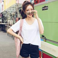 韩都衣舍2017韩版女装夏装新款纯色宽松百搭打底短袖T恤