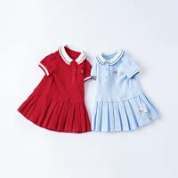 戴维贝拉女童连衣裙儿童裙子2021夏装新款宝宝公主裙POLO裙运动风