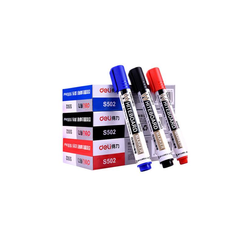 白板笔可加墨水得力S502可擦黑蓝红色易擦水性笔儿童无毒办公用品 1O支/盒,配套墨水为S630