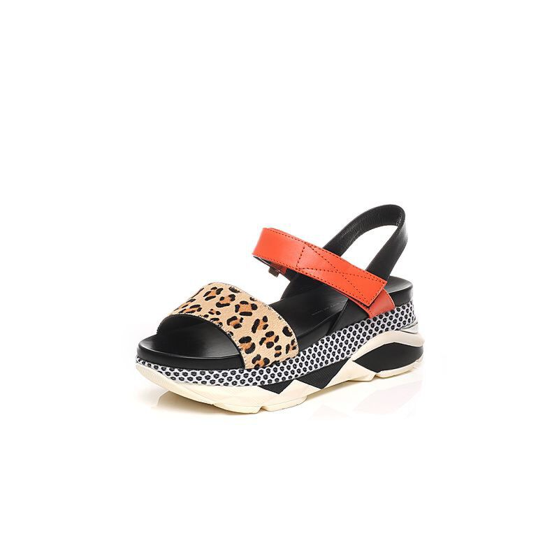 Tata/他她夏季时尚拼接风坡跟女皮凉鞋U2055BL6