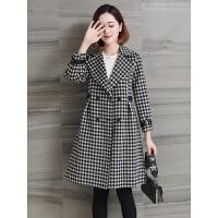 秋冬韩版修身双面呢格子羊毛呢子外套中长款零羊绒大衣女 格子