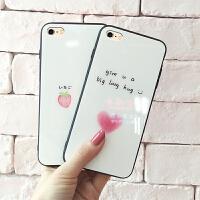苹果6splus手机壳女款玻璃新款iPhone6个性创意6s手机套防摔潮牌6情侣plus全包网红同款高档可爱时尚抖音镜