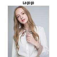 Lagogo/拉谷谷2019冬季新款系带衬衫HCCC439C15