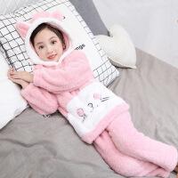 女童珊瑚绒睡衣中大儿童法兰绒加厚家居服秋冬季小孩套装公主卡通