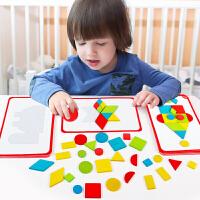 幼儿童拼图早教益智力开发玩具七巧板1-2-3岁男孩女宝宝4-5-6木质