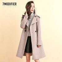 拉夏贝尔7m2018冬新款韩版气质大摆双面尼大衣中长宽松毛呢外套女