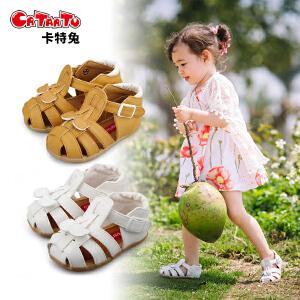 卡特兔夏季新款儿童凉鞋0-4岁宝宝鞋软底防滑女宝宝公主鞋包头学步鞋童鞋