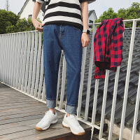 牛仔小脚裤纯色束脚裤九分裤潮男日系复古牛仔裤男窄脚哈伦裤男