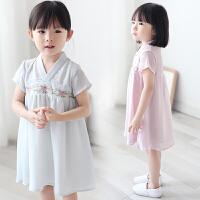 女童汉服儒裙夏季中国风儿童连衣裙碎花小孩子中式裙子宝宝唐装裙