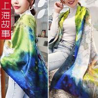 上海故事带扣韩版女款梵高油画纯真丝桑蚕丝围巾双面双层重磅披肩