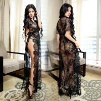 性感内衣极度诱惑黑色透明蕾丝睡衣长款情趣睡裙显瘦套装 黑色 均码