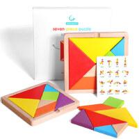 七巧板益智力拼�D幼�和�教具小�W生用4-6�q7男孩女孩�_�l木�|玩具