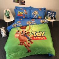 儿童单人卡通床上用品闪电麦昆蜘蛛双人棉四件套床单被套床笠款