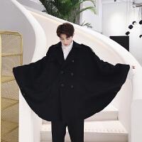 新款暗黑系男士韩版宽松双排扣黑色呢料斗篷毛呢大衣外套男装