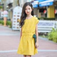 2019 女童格子连衣裙夏新款中大童背心裙韩版蝴蝶结公主裙 黄色