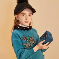 【开学季3件2折:80】巴拉巴拉旗下巴帝巴帝2019年秋冬女童中大童毛衣时尚甜美花边套头毛衫