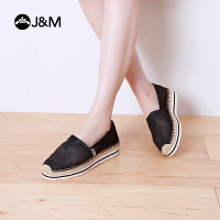jm快乐玛丽女鞋夏季低帮条纹松糕厚底镂空帆布鞋一脚蹬女鞋51185W