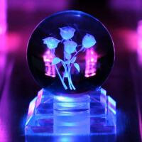 生日礼物情人节礼品 人造水晶球玫瑰发光