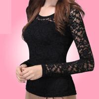 蕾丝打底衫女长袖秋冬大码女装春装上衣韩版修身t恤女长袖蕾丝衫