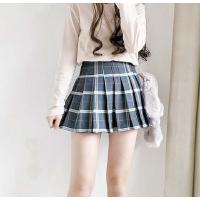 秋季短裙女韩版潮mm毛呢半身裙小清新高腰格子A字百褶裙学生百搭