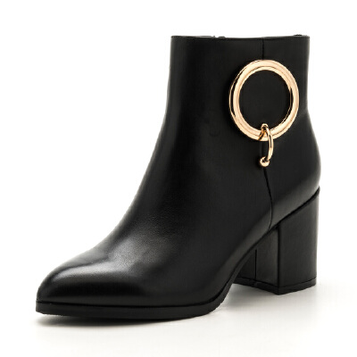 星期六(ST&SAT)冬季专柜同款牛皮革粗跟短靴SS74116521