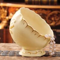 创意迷你桌面垃圾桶收纳桶欧式家用客厅小号桌上陶瓷杂物筒收纳盒 13011经典芙蓉桌面垃圾桶