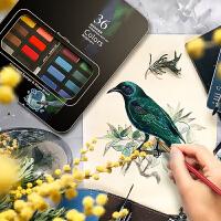 乔尔乔内24色固体水彩颜料36色星空画学生抖音同款初学者绘画套装便携式套装水粉饼铁盒儿童美术笔画画工具