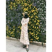 韩版复古夏季荷叶喇叭袖高腰雪纺连衣裙海边度假沙滩裙碎花长裙