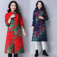冬装新款民族风复古修身立领棉袄加厚棉衣百搭中长款外套