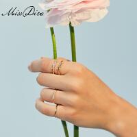 简约个性双层戒指女气质新款百搭食指戒指闺蜜学生戒子