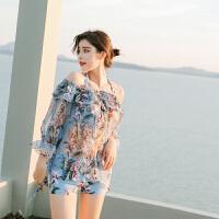 性感泳衣女士平角分体三件套一字肩大码温泉韩国显瘦钢托聚拢泳装