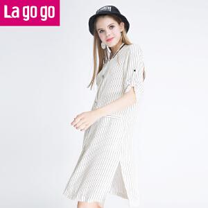 Lagogo拉谷谷新款女装时尚棒球衫领单排扣竖条纹薄外套中长款开衫