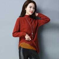 新款韩版女装秋冬中长款半高领加绒毛衣打底衫大码加厚针织羊绒衫 5