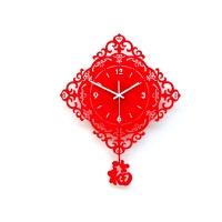简约创意客厅挂钟艺术静音时钟五福临门摇摆钟表