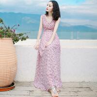 夏季新品女装V领无袖雪纺连衣裙长裙波西米亚沙滩裙海边度假裙子 粉色 XZA267