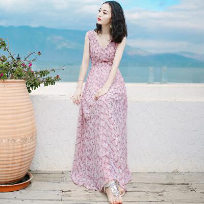 夏季新品女装V领无袖雪纺连衣裙长裙波西米亚沙滩裙海边度假裙子 粉色 XZA267 发货周期:一般在付款后2-90天左右发货,具体发货时间请以与客服协商的时间为准