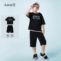 【2件35折:105】安奈儿童装男童短袖针织套装夏装新款