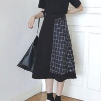 夏装女装韩版个性百搭格子撞色高腰半身裙中长款A字裙裙长裙显瘦 图片色 均码