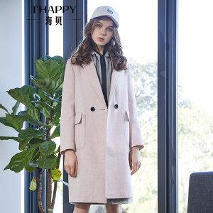 海贝2018春装新款女 纯色西装领双排一粒扣长袖中长款外套风衣