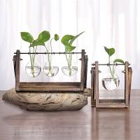 创意木架水培容器绿萝植物玻璃花器客厅小花瓶办公室桌面装饰摆件