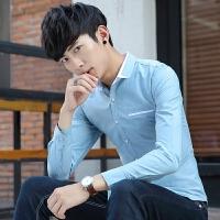 新款2018男士长袖男士个性长袖衬衫秋冬季男装青年衬衫长袖纯潮流