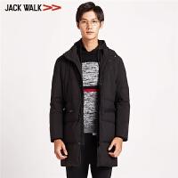【满300减30】拉夏贝尔男装Jackwalk中长款羽绒服 冬季新品纯色立领羽绒男