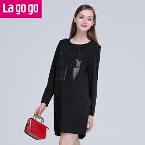 Lagogo拉谷谷春夏新款黑色显瘦长袖连衣裙女宽松休闲百搭印花裙子