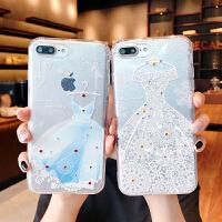 苹果7手机壳iPhone6s保护套8p透明壳6splus水钻软壳闪粉镶钻x唯美新款女浮雕防滑全包边个性创意夏季潮六七八