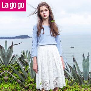 【商场同款】Lagogo/拉谷谷2017年夏季新款时尚拉链镂空优雅半裙GABB293A51