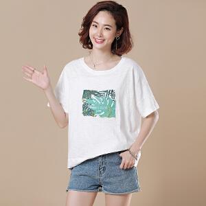原创大码宽松休闲字母刺绣白色短袖棉T恤女2018夏装新款DS246-1862