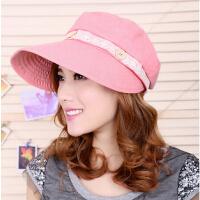 女夏天韩版太阳帽大沿骑车防晒帽沙滩帽可折叠遮阳帽