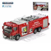 凯迪威合金工程车模型水罐消防车喷水救火金属火警摆件汽车儿童节礼物