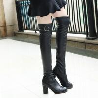彼艾2017秋冬款过膝靴长筒靴粗跟高筒靴过膝长靴高跟女弹力靴子女靴子
