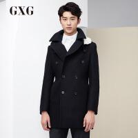 GXG呢大衣男装男士冬季时尚休闲都市修身潮长款羊毛呢保暖外套男